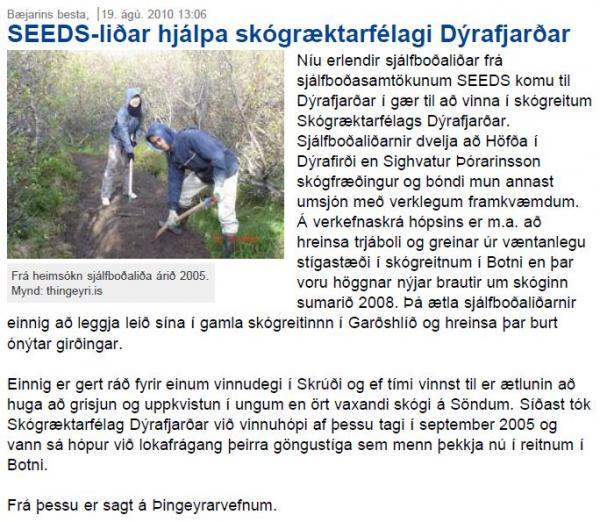 bb.is - SEEDS-liðar hjálpa skógræktarfélagi Dýrafjarðar