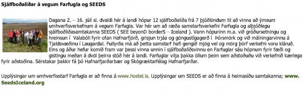 saf.is - Sjálfboðaliðar á vegum Farfugla og SEEDS