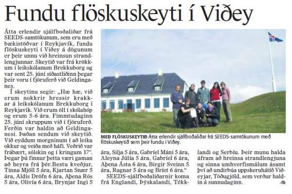 Fréttablaðið - Fundu flöskuskeyti í Viðey