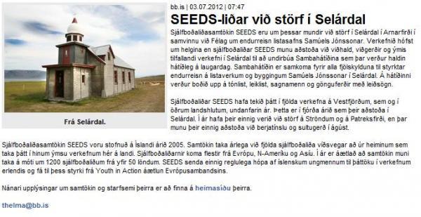 BB.is - SEEDS-liðar við störf í Selárdal
