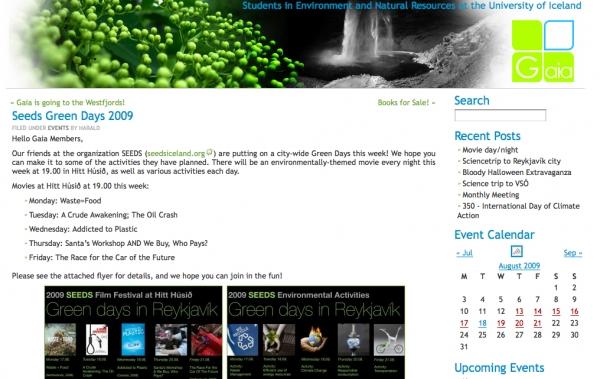 nemendafelog.hi.is - SEEDS Green Days 2009