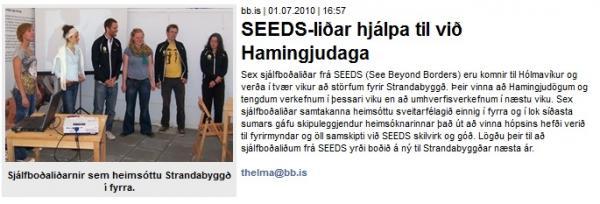 BB.is: SEEDS-liðar hjálpa til við Hamingjudaga