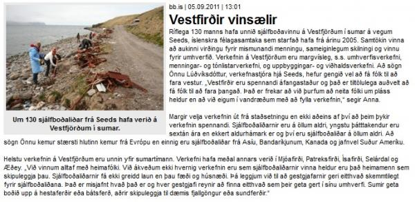BB.is: Vestfirðir vinsælir