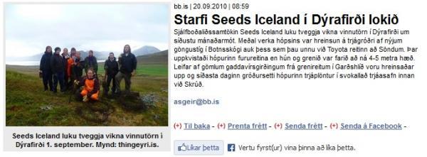 BB.is: Starfi Seeds Iceland í Dýrafirði lokið