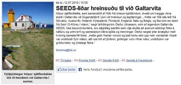 BB.is: SEEDS-liðar hreinsuðu til við Galtarvita