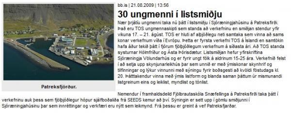 BB.is: 30 ungmenni í listsmiðju