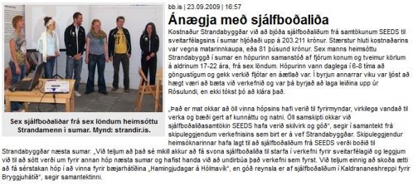 BB.is: Sjálfboðaliðar buðu Strandamönnum á stefnumót