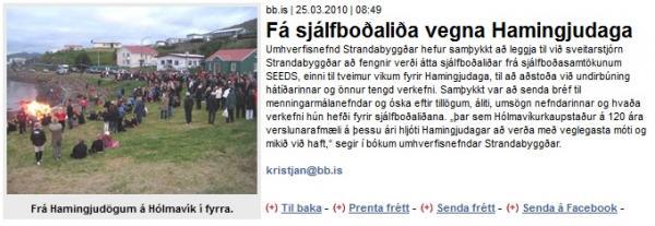 BB.is: Fá sjálfboðaliða vegna Hamingjudaga