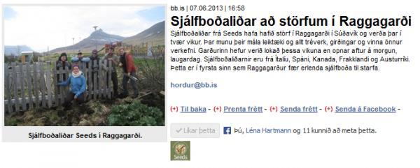 BB.is: Sjálfboðaliðar að störfum í Raggagarði