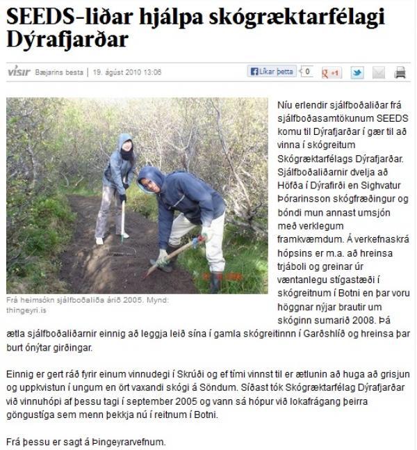 Visir.is: SEEDS-liðar hjálpa skógræktarfélagi Dýrafjarðar