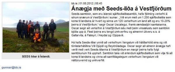 BB.is - Ánægja með Seeds-liða á Vestfjörðum