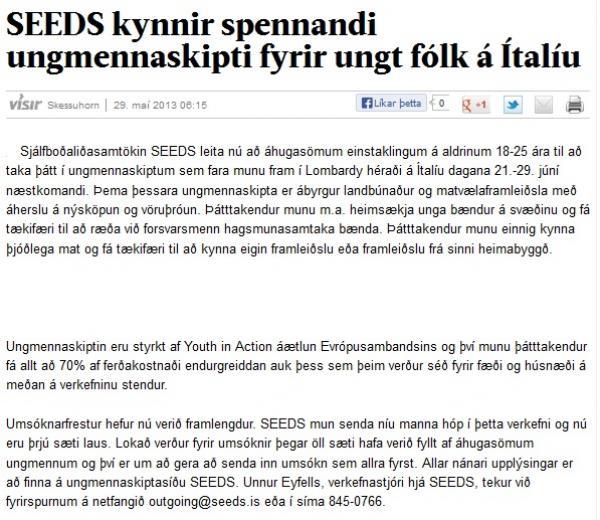 Visir.is: SEEDS kynnir spennandi ungmennaskipti fyrir ungt fólk á Ítalíu
