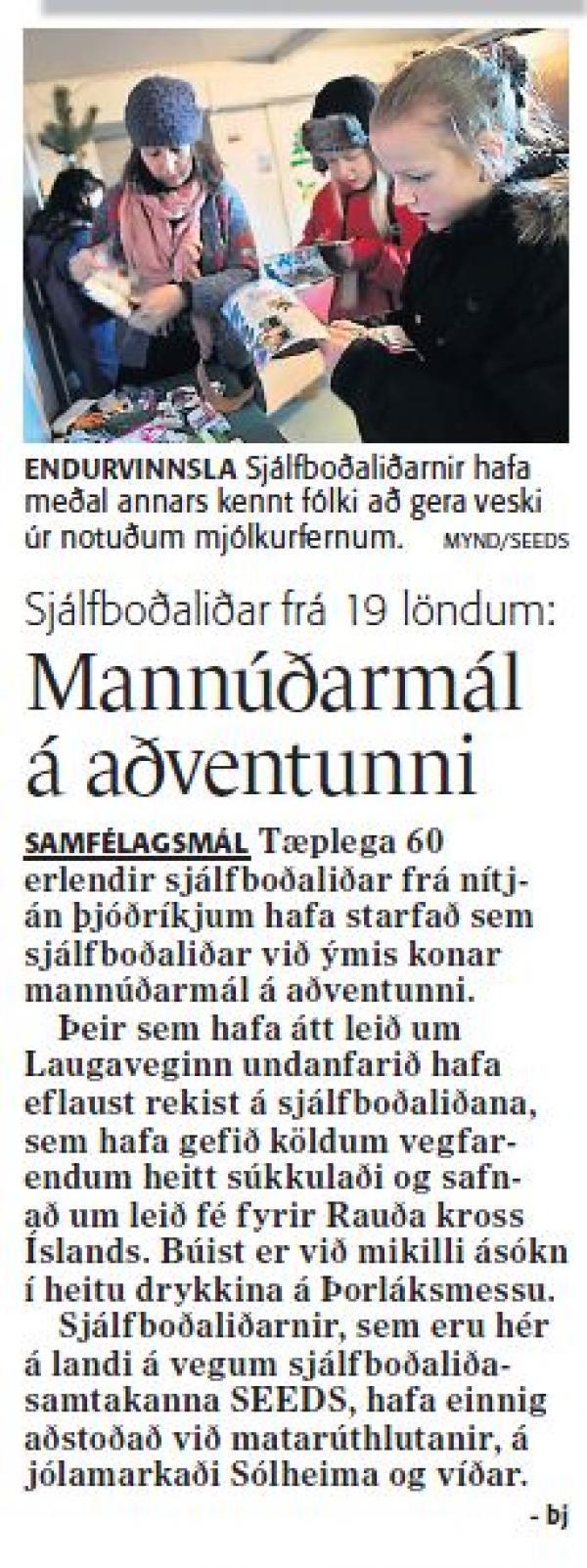 Fréttablaðið - Sjálfboðaliðar frá 19 löndum. Mannúðarmál á aðventunni