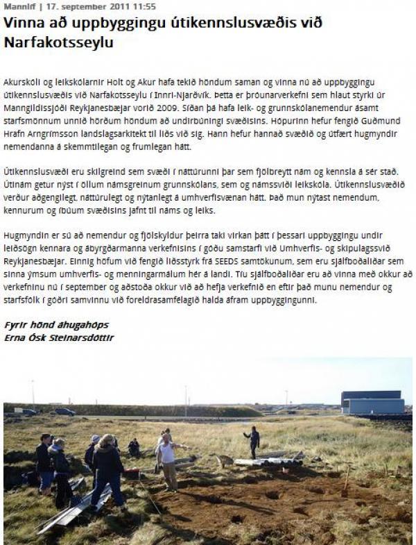 Víkurfréttir: SEEDS sjálfboðaliðar aðstoða við uppbyggingu útikennslusvæðis við Narfakotsseylu