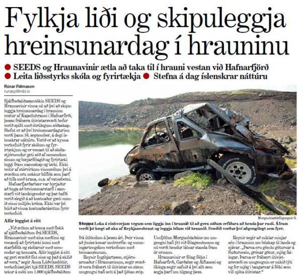 Morgunblaðið - SEEDS og Hraunavinir ætla að taka til í hrauni vestan við Hafnarfjörð