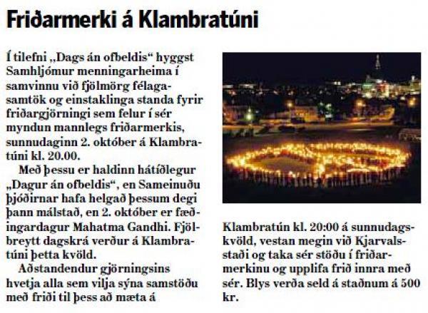 Morgunblaðið - Friðarmerki á Klambratúni