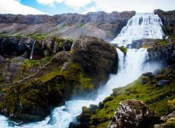 Waterfalls and glaciers in the West of Iceland
